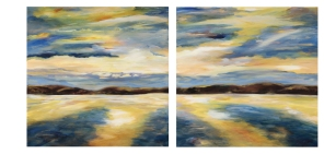 "Alice Rich, Golden Delft, diptych, 30"" x 30"" panels"